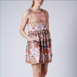 topshop orange floral pockets front mini dress 8